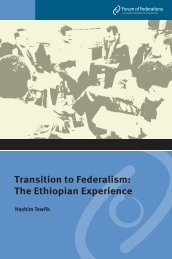 Transition to Federalism: The Ethiopian Experience - Forum of ...