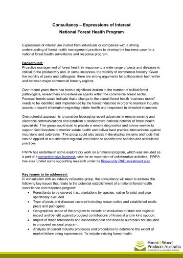 Consultancy – Expressions of Interest National Forest Health Program