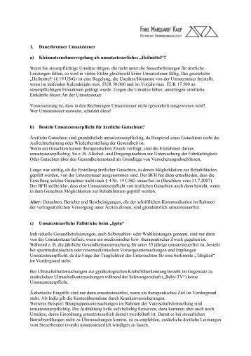 Mandanten - Newsletter Ärzte - I /2010