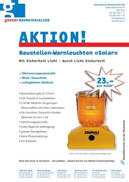 AKTION! Baustellen-Warnleuchten «Solar - Gasser Baumaterialien AG