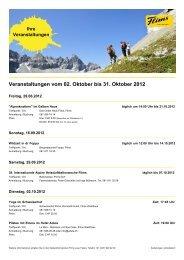Veranstaltungen vom 02. Oktober bis 31. Oktober 2012 - Flims