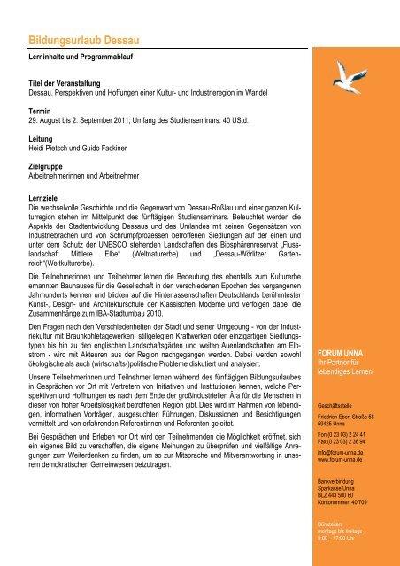 Programm Dessau 2011 - Forum Unna