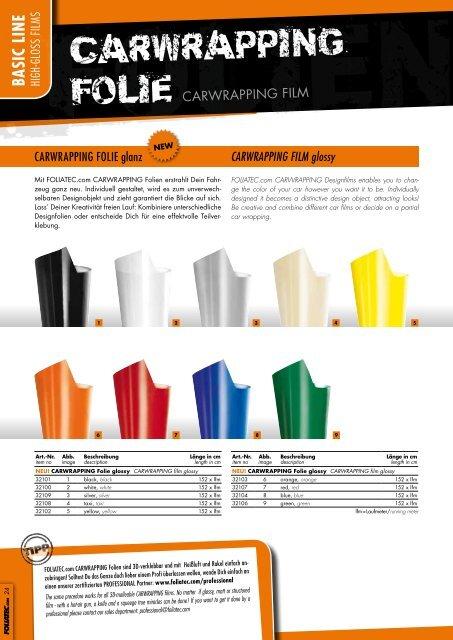 PRODUKT-KATALOG 2012 product cAtALoGuE 2012 - Foliatec