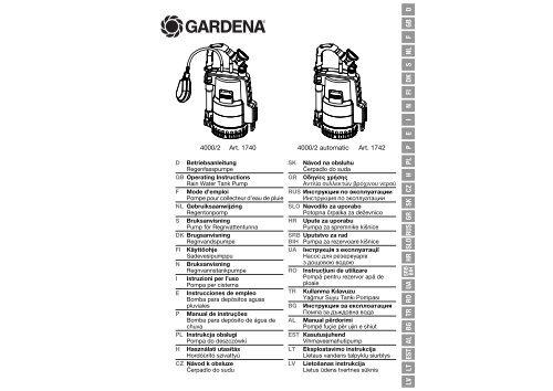 OM, Gardena, Rain Water Tank Pump, Art 0,1740-20, Art 01742-20 ...