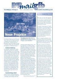 Neue Projekte - Beschäftigung + Bildung ev