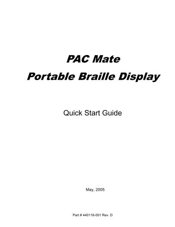 PAC Mate Portable Braille Display - Freedom Scientific
