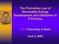 The Promotion Law of RE and Utilization in P.R. China