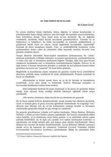 SU ÜRETİMİNİ DENETLEME: Prof. Dr. Uçkun GERAY