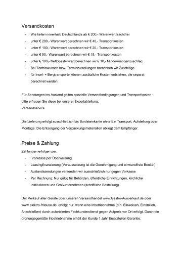 Zahlung&Lieferung - Gastro-Ausverkauf.de