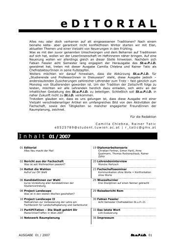Ausgabe 1 - Fachschaft Raumplanung