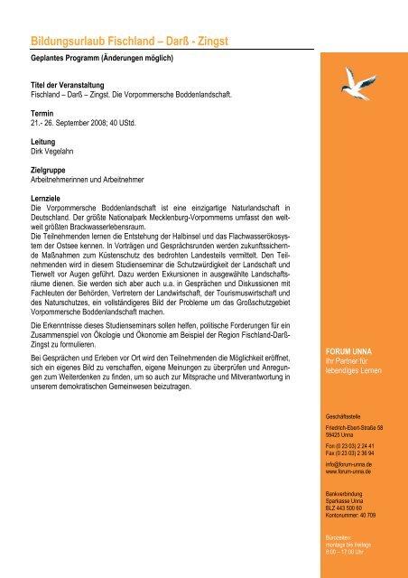 Programmablauf Fischland-Darss-Zingst 2008 - Forum Unna