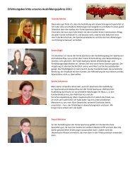 Erfahrungsberichte des Ausbildungsjahres 2011 - Förde Sparkasse