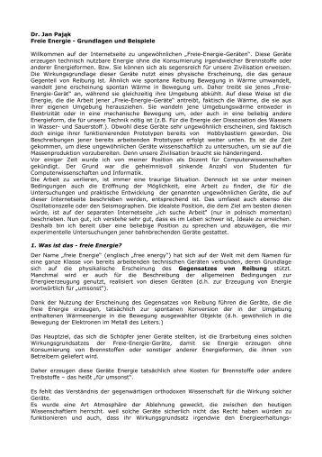 Dr. Jan Pająk Freie Energie - Grundlagen und ... - Wohin - Woher