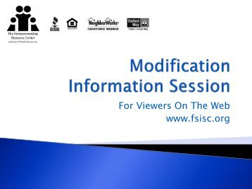 Pre-Modification Information Session - Family Services, Inc.