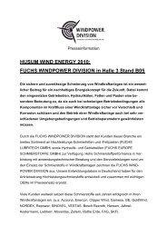 Neues zur HUSUM WindEnergy 2010 - fuchs europe schmierstoffe ...
