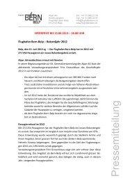 2012 ein Rekordjahr für den Flughafen Bern-Belp