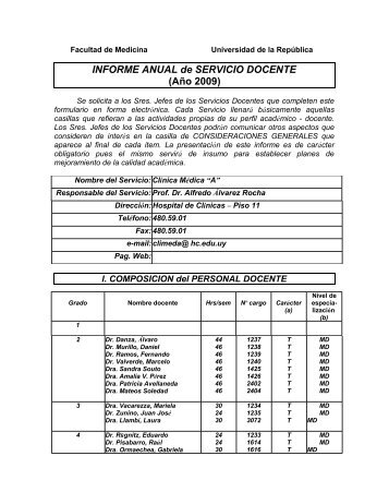 Informe Anual 2009 Clinica Medica A - Facultad de Medicina