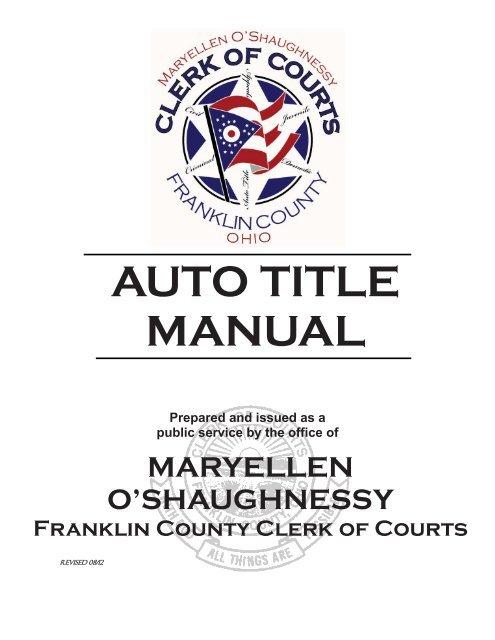 Auto Title Manual Franklin County Ohio