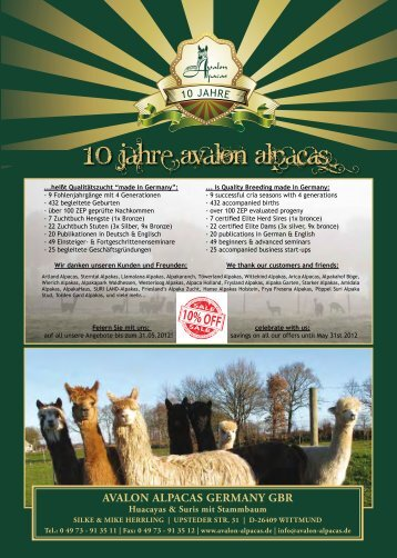 Stuten Katalog 2012 - Avalon Alpacas Germany Gbr