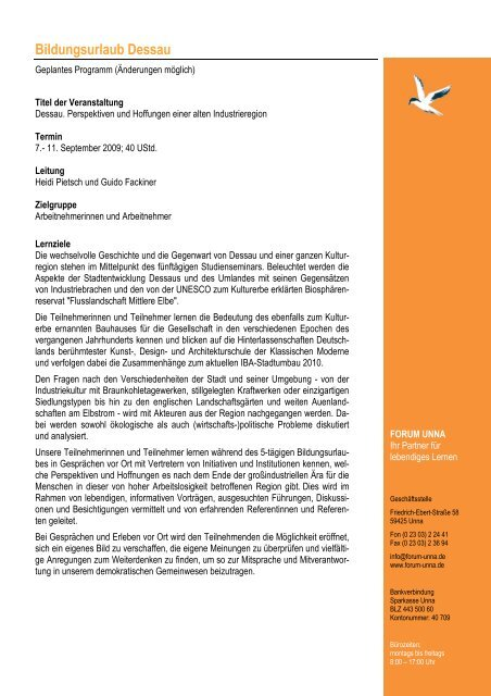 Programm Dessau 2009 - Forum Unna