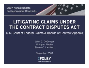 LITIGATING CLAIMS UNDER THE CONTRACT DISPUTES ACT