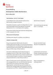 Geschäftsentwicklung 2011 - Förde Sparkasse