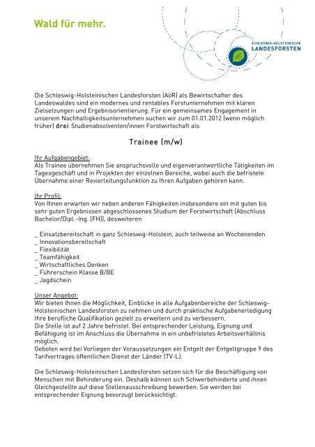 Trainee (m/w) - Schleswig-Holsteinische Landesforsten