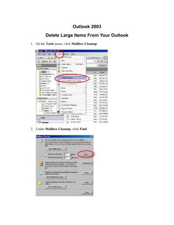 Outlook 2003 Delete Large Items From Your Outlook