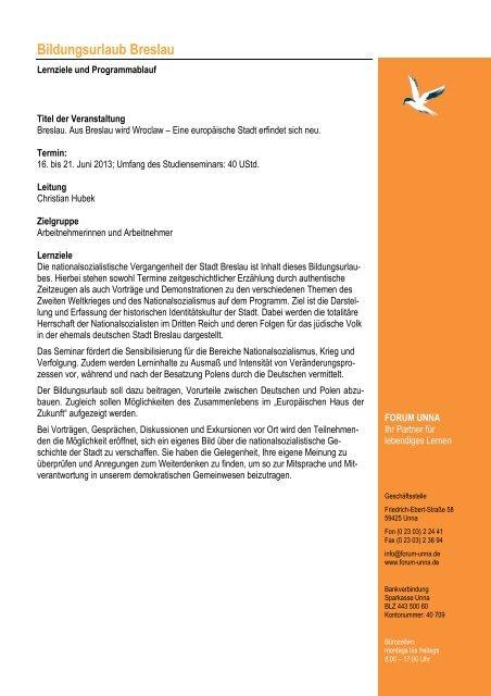 Bildungsurlaub - Programm Breslau 2013 - forum unna