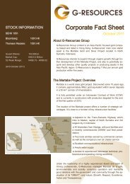 Corporate Fact Sheet - G-Resources