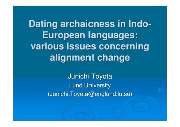 Dating archaicness in Indo- European languages: various issues ...