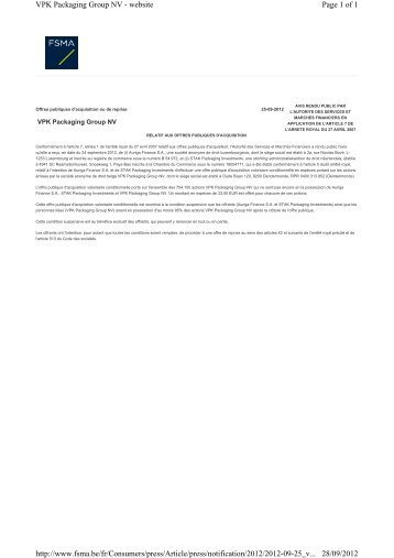 Page 1 of 1 VPK Packaging Group NV - website 28/09/2012 http ...