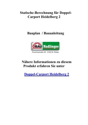 Montageanleitung f r doppel carport k ln 1 - Statische berechnung dachstuhl ...