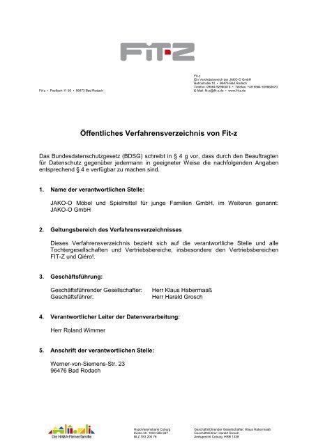 Öffentliches Verfahrensverzeichnis von Fit-z