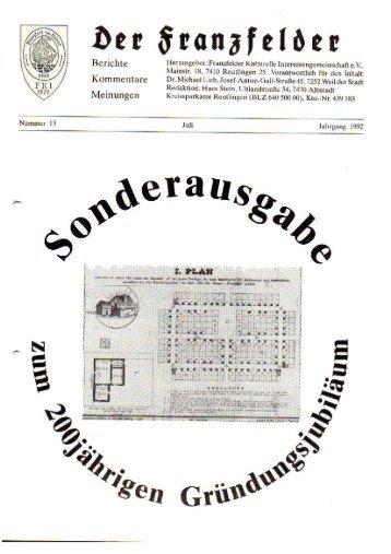 Sonderausgabe 15 hier herunterladen - Die Franzfelder