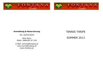 TENNIS TARIFE SOMMER 2013