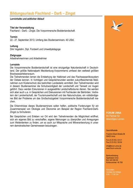 Bildungsurlaub - Programm Fischland Herbst 2013 - forum unna