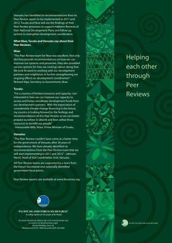 Helping each other through Peer Reviews - Pacific Islands Forum ...