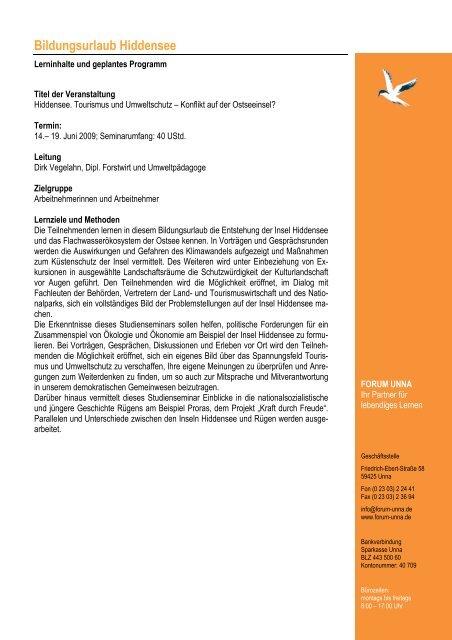 Programm Hiddensee 2009 - forum unna