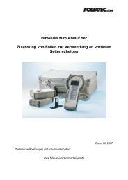 DOWNLOAD: Zulassungsbestimmungen [PDF/ 1,5 MB] - Foliatec