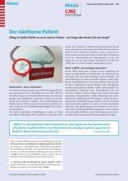 Der nüchterne Patient - Fortbildung - UniversitätsSpital Zürich