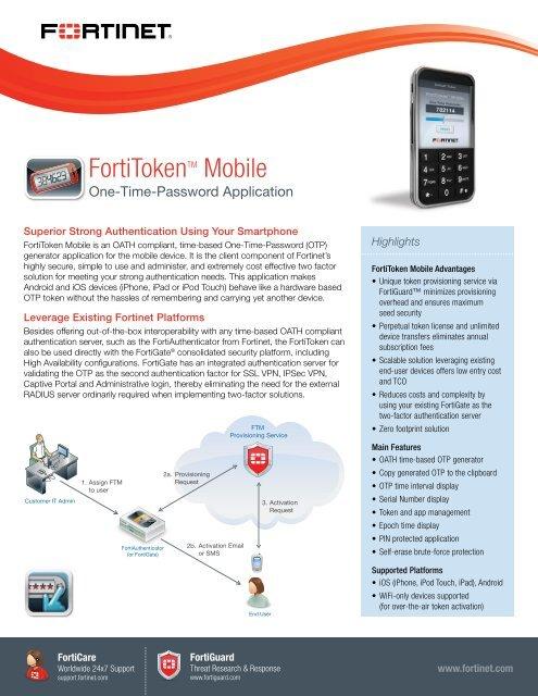 FortiToken Mobile datasheet - Fortinet