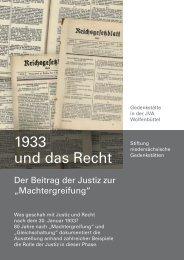 1933 und das Recht - Stiftung niedersächsische Gedenkstätten