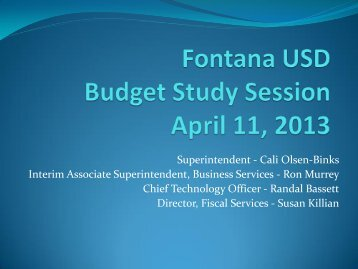 Budget Study Session - Fontana Unified School District