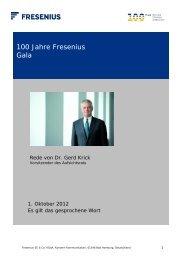 Rede des Aufsichtsratsvorsitzenden Dr. Gerd Krick - Fresenius