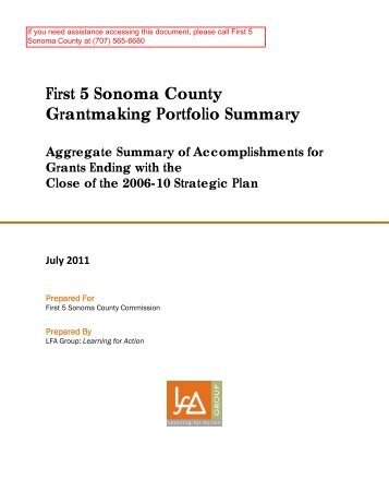 First 5 Sonoma County Aggregate Summary Of Accomplishments  Summary Of Accomplishments