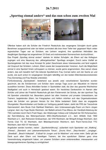 Sporttag 2011 - auf der Website der Friedrich Realschule Weinheim.