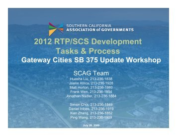 2012 RTP-SCS Process - Gateway Cities Council of Governments