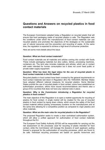 food contact materials   eviraquestions and answers on recycled plastics in food contact materials