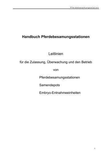 Handbuch Pferdebesamungsstationen Leitlinien